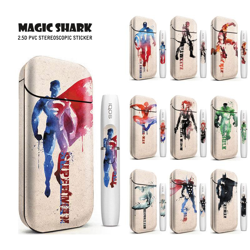 Magic Shark Marvel Superman Spider Iron Man Printing Electronic Cigarette Sticker Skin For IQOS 2.4 Plus Universal Case Cover