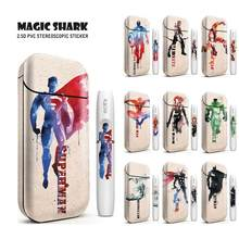 Magic Shark Marvel Superman Spider Iron Man Printing Elektronische Sigaret Sticker Skin voor IQOS 2.4 Plus Universele Case Cover(China)