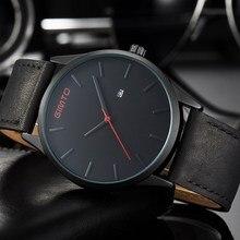 2017 GIMTO Negro Casual Hombres Del Reloj de Lujo de Moda Vestido de Cuarzo Relojes de Los Hombres del Cuero Genuino de Negocios Masculino Impermeable Reloj