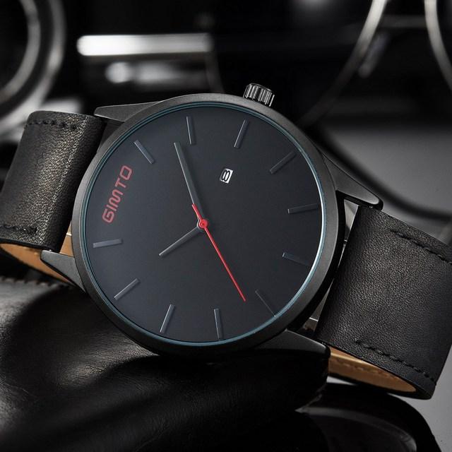 2017 Ocasional Preto Elegante Relógio Homens Marca De Luxo Milimalism GIMTO Tendência Da Moda Relógios Dos Homens de Quartzo de Couro Genuíno Relógio Masculino