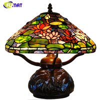FUMAT Lotus Table Lamp Stained Glass Table Lights Creative Decorative Light For Living Room Bedroom Bedside Desk Light