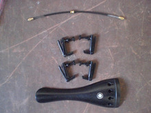 1 PC EBONY Tail piece with 4 PCs Full Black Fine tuner& Tail gut all 4/4