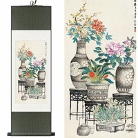 Chinese Silk Watercolor Ink Still Life Peony Rose Bonsai Flower Arranging Art Canvas Wall Picture Damask