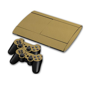 Image 3 - カーボンファイバービニールソニー PS3 スーパースリム 4000 コンソールと 2 ゲームパッドコントローラスキンカバー controle スキン