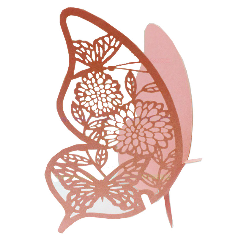 50pcs DIY Place Card <font><b>butterfly</b></font> <font><b>Cups</b></font> Glass Wine Wedding Name Cards Laser Cut Paper Cards <font><b>Birthday</b></font> Party Decoration