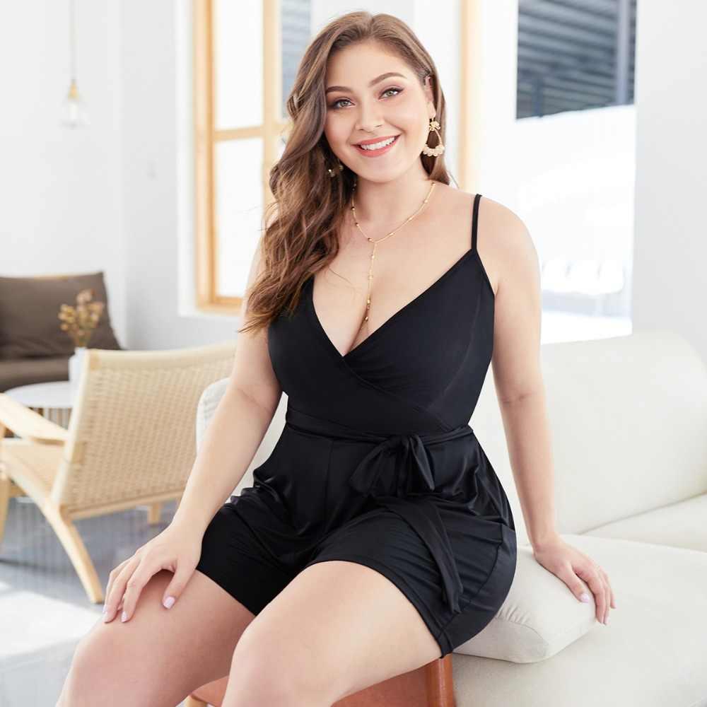 WHZHM Лето размера плюс 3XL 4XL свободные штаны боди Женский комбинезон без рукавов Глубокий v-образный вырез пояса черные женские боди XR041
