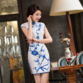 New Arrival Lady Silk Cheongsam Chinese Wedding Party Dress Blue and White Porcelain Charming Sexy Qipao Plus Size