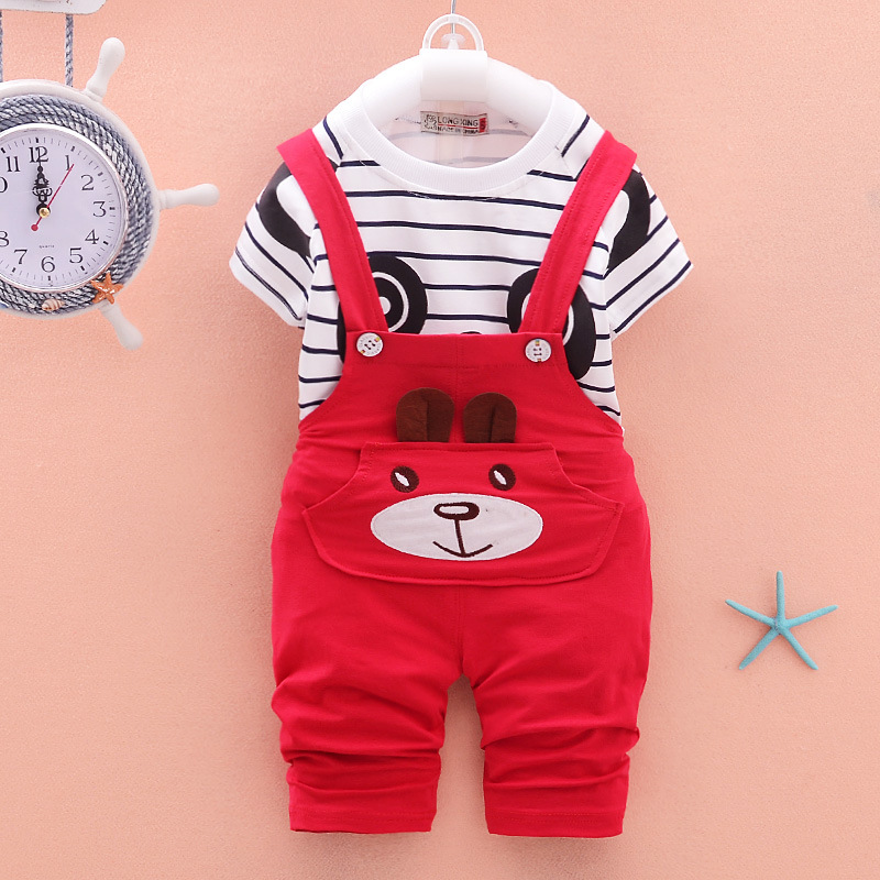 Baby Boy Clothes 2017 Summer Brand Short Sleeved Striped T-shirts Top + Overalls 2PCS Outfits Kids Bebes Jogging Suit Tracksuit