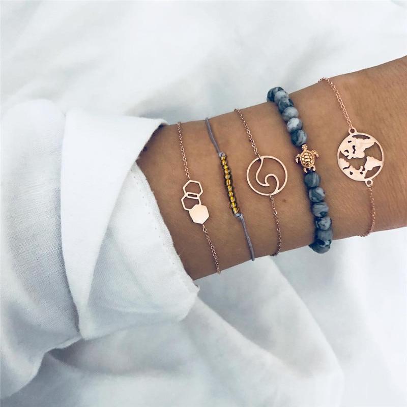 Modyle-Bohemian-Gold-Color-Map-Turtle-Bracelets-For-Women-New-Fashion-Beads-Chain-Multilayer-Bracelet-DIY