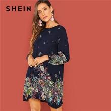47566869a4c SHEIN plage contraste dentelle trou de serrure dos Floral trapèze col rond manches  longues robe automne décontracté femmes print.