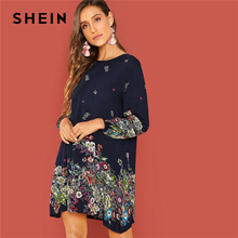 ad808c894c SHEIN Beach Contrast Lace Keyhole Back Floral Trapeze Round Neck Long  Sleeve Dress Autumn Modern Lady
