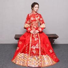 אדום בתוספת גודל 4XL 5XL 6XL הכלה שמלת חתונה שמלת רטרו שמלת Cheongsam הסיני שמלת הכלה טוסט בגדים ארוך סעיף