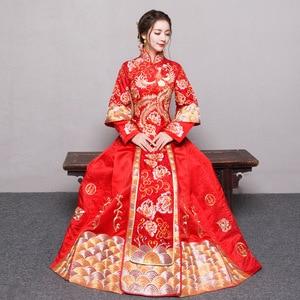 Image 1 - אדום בתוספת גודל 4XL 5XL 6XL הכלה שמלת חתונה שמלת רטרו שמלת Cheongsam הסיני שמלת הכלה טוסט בגדים ארוך סעיף