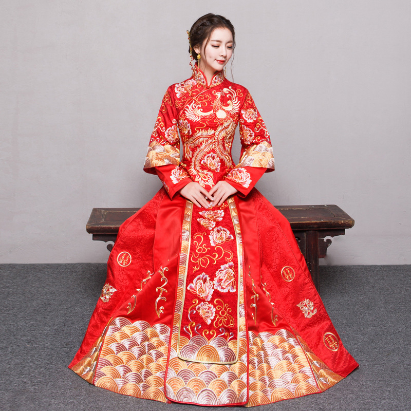 RED Plus Size 4XL 5XL 6XL Bride Dress Wedding Dress Retro Dress Chinese Cheongsam Dress The Bride Toast Clothing Long Section
