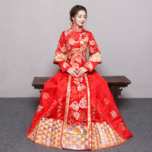 RED Plus Size 4XL 5XL 6XL Bride Dress Wedding Dress Retro Dress Chinese Cheongsam Dress The Bride Toast Clothing Long Section