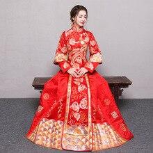ROT Plus Größe 4XL 5XL 6XL Braut Kleid Hochzeit Kleid Retro Kleid Chinesischen Cheongsam Kleid Die Braut Toast Kleidung Lange abschnitt