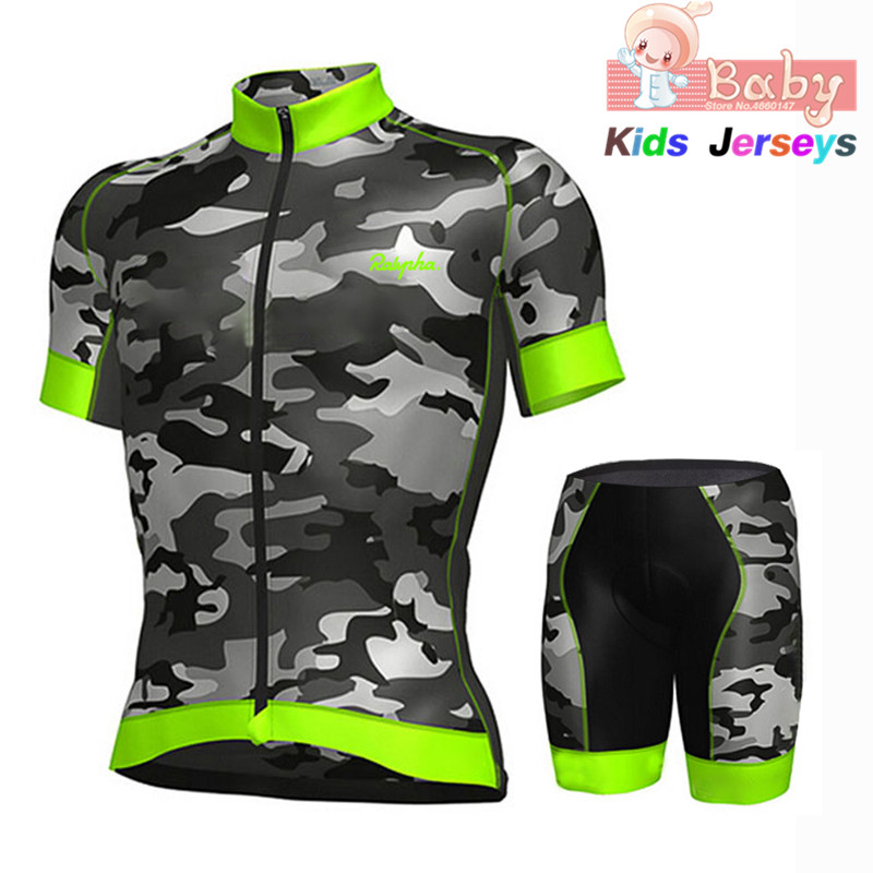 New Kids Ropa Ciclismo Cycling Jersey Set Breathable Camouflage Green Summer Quick Dry MTB Bicycle Cycling Clothing Bike Uniform Cycling Sets     - title=