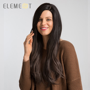 Image 4 - Element Long Synthetic Natural Wave Wig With Side Fringe Natural Headline Glueless Ombre Hair Replacement Party Wigs for Women