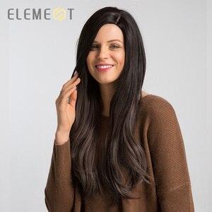 Image 4 - אלמנט ארוך סינטטי טבעי גל פאה עם שוליים צד כותרת טבעית Glueless Ombre שיער החלפת מסיבת פאות עבור נשים