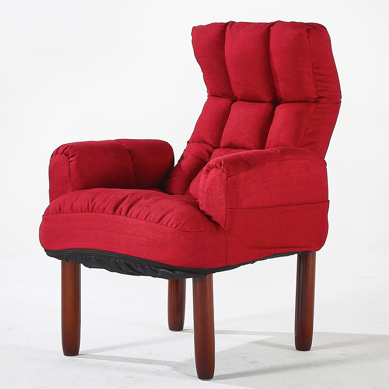 Modern Upholstery Fabric Sofa Armchair Living Room Furniture Folding Recliner Reclining Back Arm Accent Chair With Wooden Legs