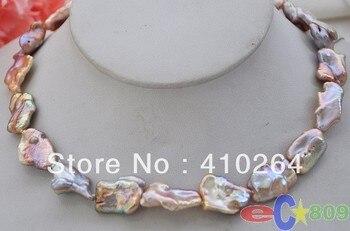 """¡Venta al por mayor! ¡envío gratis! collar de perlas Keshi renacido multicolor de lavanda de 15,5 """"y 20mm de jewelry_wig"""