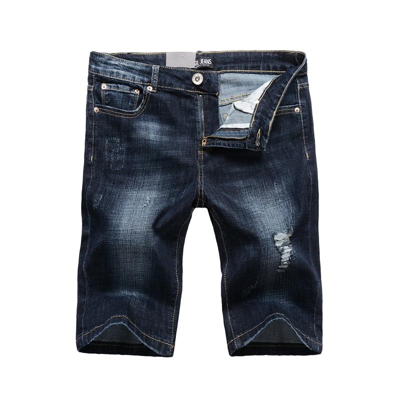 Designer Dark Blue Ripped Shorts Jeans Men High Quality Brand Clothing Preppy Men`s Stretch Jeans Bermuda Shorts Elastic 1003 tommy hilfiger new royal blue women s 2 chino bermuda walking shorts $49 245