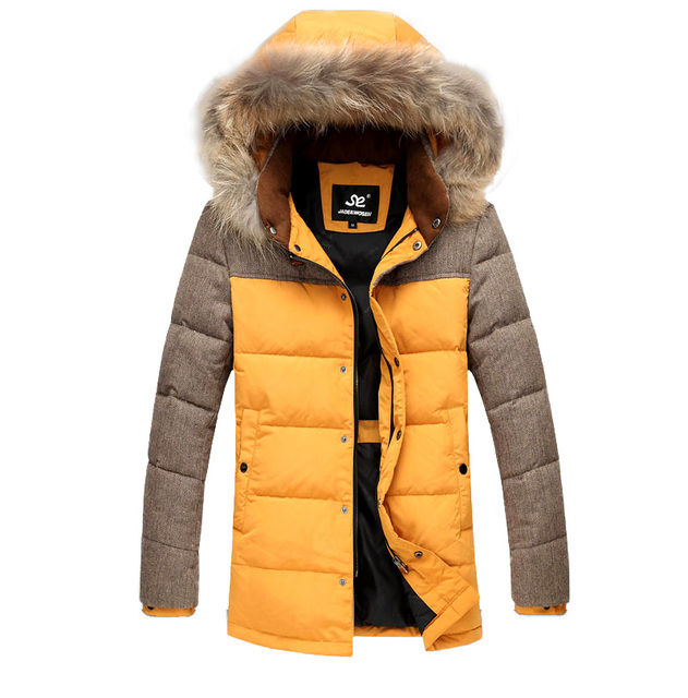 Winter new men's long down jacket Hooded men's casual thick fur collar white duck down coat Mixed colors warm coat male bigyards