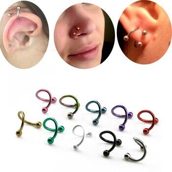 2 uds anillos de espiral retorcida anillo labio nariz Acero quirúrgico forma de S 16 calibre Hélix cartílago de oreja Piercing accesorios para el cuerpo joyería