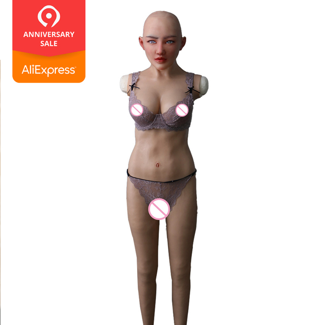 EYUNG Selina full bodysuit with solid breast forms silicone catsuit with vagina and pussy for crossdresser drag queen fake boobs