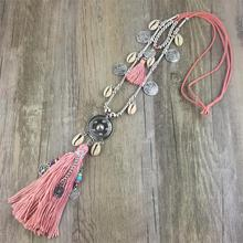 New Fashion Boho All-match Sweater Chain Necklace Tassel Alloy Around Long Pendants for Women Jewelry Gift