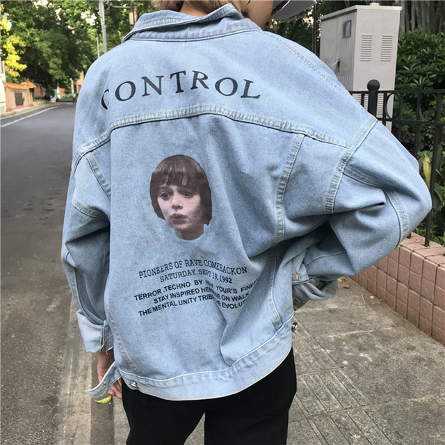 e655cd797746 AD Harajuku Denim Jacket Coat Women Letters Girls Image Oversize BF Bomber  Jacket Loose Casaco Feminino