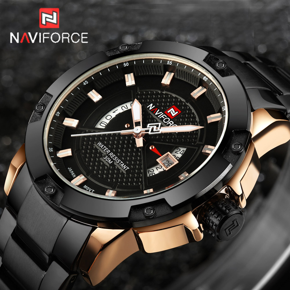 Men Watch Luxury Brand NAVIFORCE Man Sports Military Watches Men's Quartz Date Clock Fashion Wrist Watch Relogio Masculino 2017 ybotti luxury brand men stainless steel gold watch men s quartz clock man sports fashion dress wrist watches relogio masculino