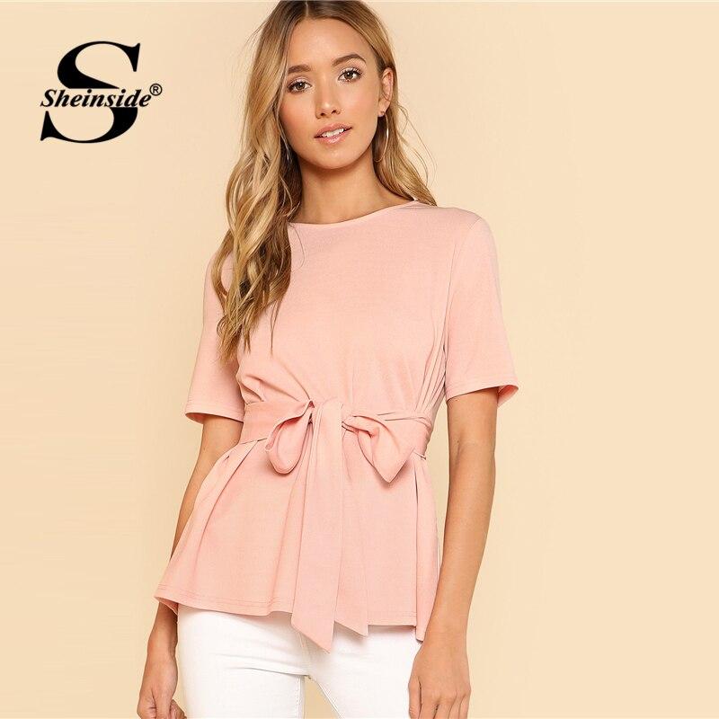 Sheinside Pink Self Belt Keyhole Back Blouse Solid Short Sleeve Top 2018 Summer Women Office Ladies Work Elegant Blouse