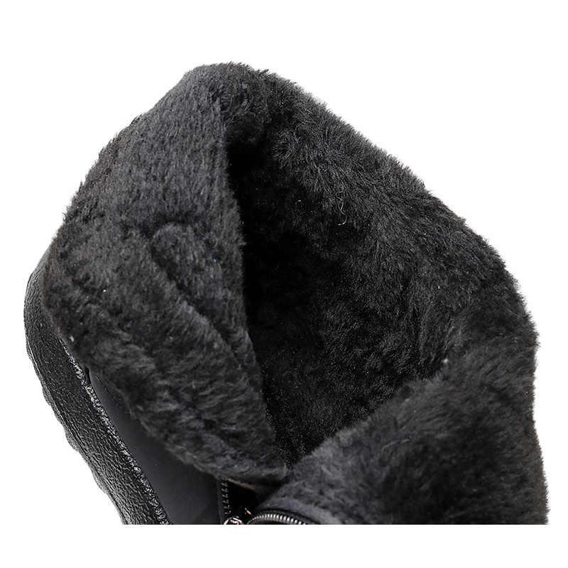 Botas femininas 2019 sapatos de inverno mulher botas de neve com pelúcia dentro botas mujer à prova dplus água mais tamanho 43 botas de inverno botas femininas