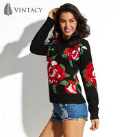 Vintacy Women's Sweater Pullover Round Neck Long Sleeve Floral Black 2018 Modern Causal Fashion Female Girls Women's Sweater