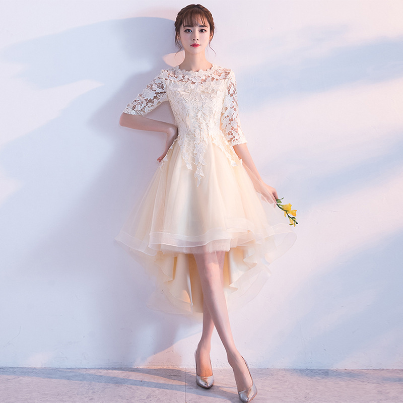 Traditional Chinese Dress Qipao Ladies Evening Dresses Vintage Cheongsam Women Bride Short Beige Lace Cheongsam Modern