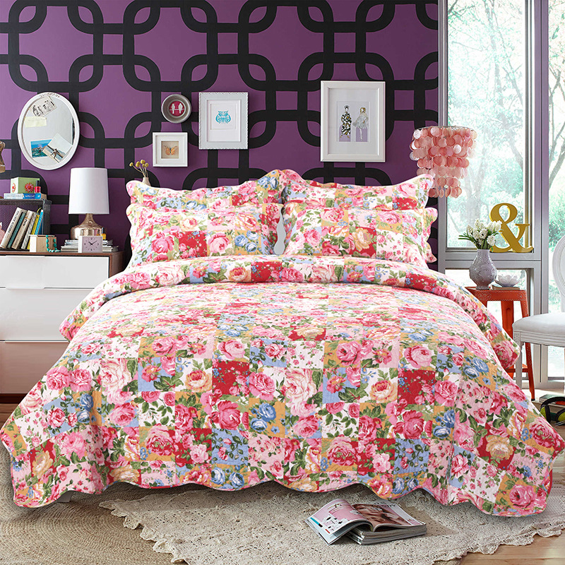 Fancy Blooming Prairie Queen Size 3 Piece Bedspread Set 100 Cotton Quilted Bedspread Countryside Style Comforter