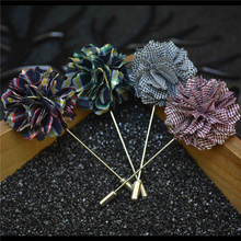 (5PCS)6Colors Handmade wedding Suits Lapel Pin tartan Flower Long Brooch For Men's Insert Brooches Diy Jewelry MZ41