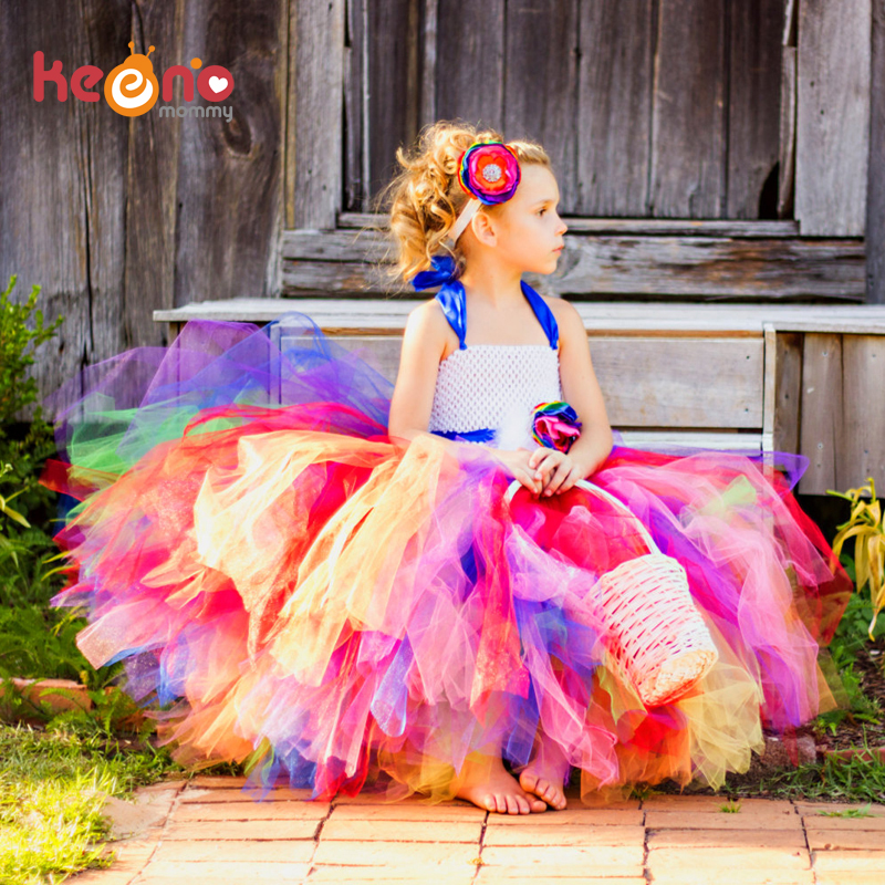 Keenomommy Candy Rainbow Flower Girls Tutu Sukienka na urodziny Photo Wedding Kids Halloween Christmas Costume TS052