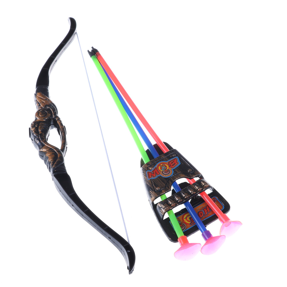 1PCS35cm Children Outdoor Plastic Archery Children'S Bow And Arrow Toy For Shooting Toys Boy Gifts With Sucker Random Color