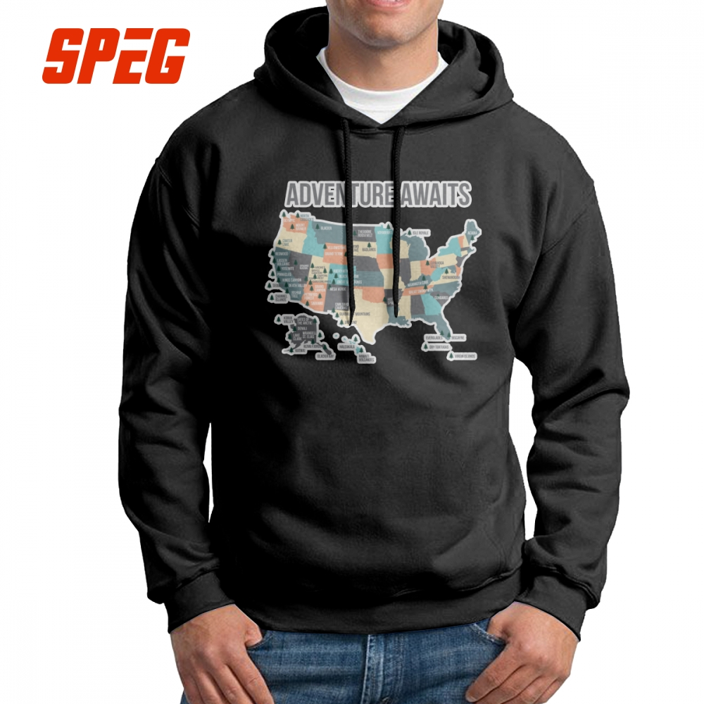 Hiking National Parks Lists All 59 National Parks USA Man Hooded Sweatshirts 100% Cotton Casual Hoodie Wholesale Hoodie Shirt image