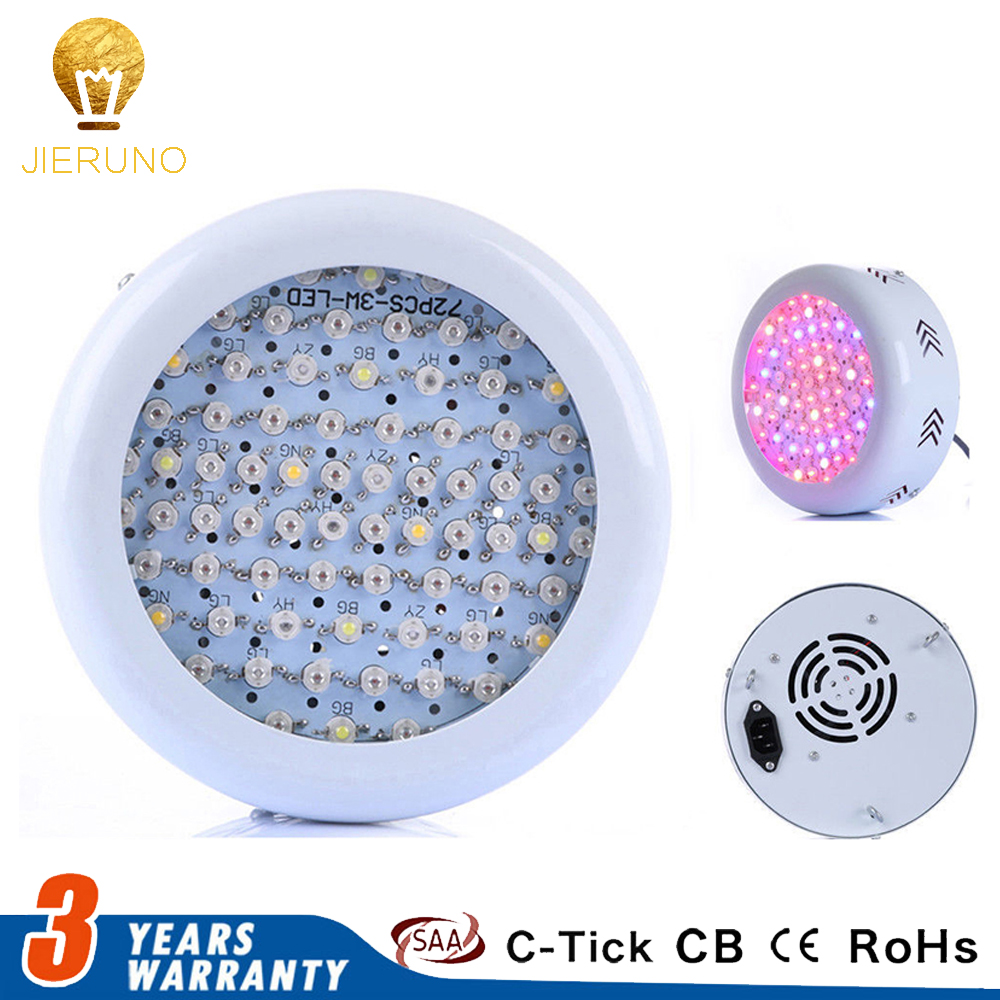 216W UFO LED Grow Light 72x3W Full Spectrum AC85~265V Hydroponics Plant Lamp Ideal All Phases of Plant Growth and Flowering BJ full spectrum 40w ufo led grow light hydroponics plant lamp ideal for all phases of plant growth and flowering 85 265v