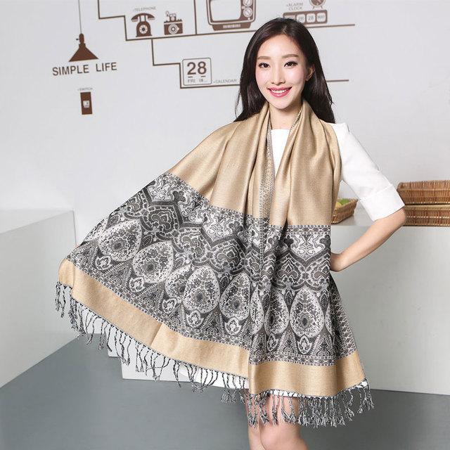 Bufandas de invierno Paisley Tippet de la India Cachecol Inverno étnica Bufandas 100% Pashmina turquesa Cyan moda borlas Echarpe