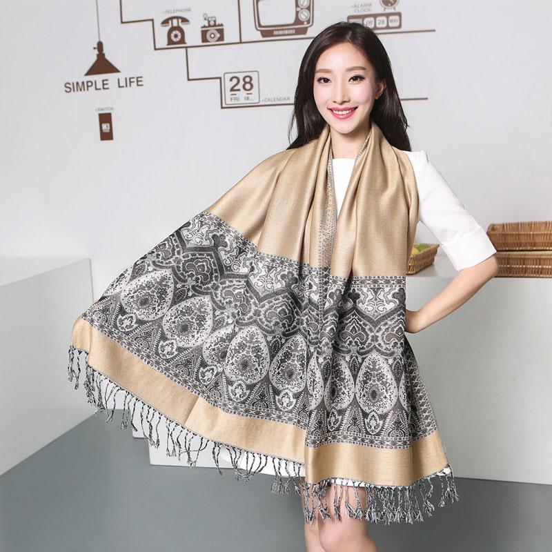 Paisley Tippet Winterschals aus Indien Cachecol Inverno Ethnische Bufandas 100% Pashmina Türkis Cyan Fashion Quasten Echarpe