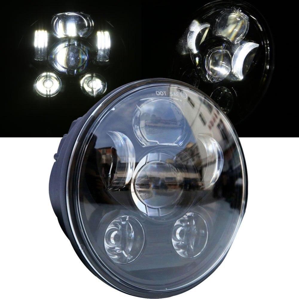 Phare rond de moto de 5.75 pouces 45 W feux de route/feux de croisement HID LED phare avant de conduite pour Harley Sportster, DynaPhare rond de moto de 5.75 pouces 45 W feux de route/feux de croisement HID LED phare avant de conduite pour Harley Sportster, Dyna