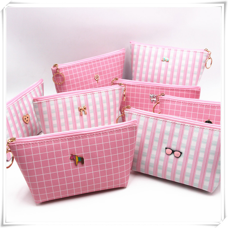 PACGOTH Sweet Pink Color Plaid Pattern Cosmetic Bag With Zipper Pink Large Storage Bag PU Leather With Matal Decoration Bag, 1PC