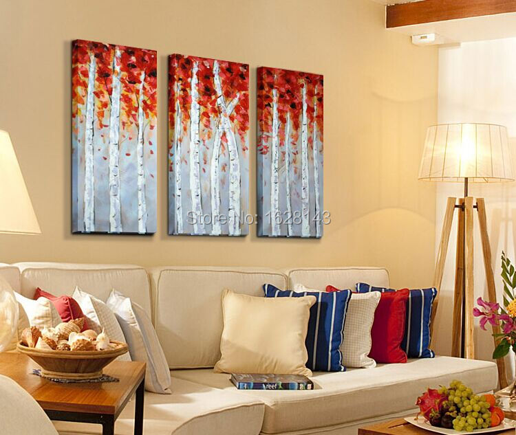 HAND MADE 3 piece CANVAS wall art WHITE RED WOODS Home Decor Modern ...