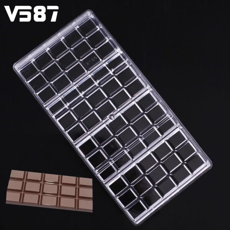 Echte polycarbonaat chocolade bar schimmel fondant vormen candy jelly schimmel plastic bakken gebak schimmel cozinha keuken tool bakvormen