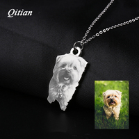 Pet Customized Pendants Necklaces Stainless Steel Personalized Necklace Nameplate Photo Engraved DIY Jewelry Dropshipping
