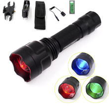 Manta Ray C8s Hunting LED Flashlight CREE XP-E Green Blue Red Light Zoomable Lanterna 18650 Battery Gun Mount Remote Switch(China)